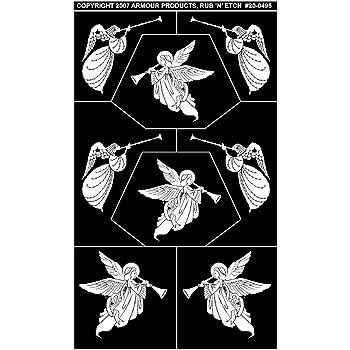 Armour Products Etch Rub N Etch Stencil Assorted Angels 5-Inch by 8-Inch