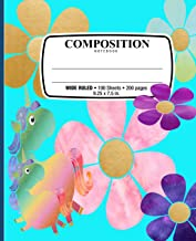Composition NoteBook: Unicorns Rainbow of Flowers Notebook for School Office Home Student Teacher Use Wide Ruled • 100 Sheets • 200 Pages • 9 1/4 x 7 1/2 in. / 24.77 x 19.0cm
