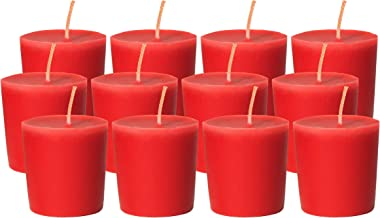 CandleNScent Red Votive Candles   Unscented - 15 Hour Burn Time - Made in USA (Pack of 12)