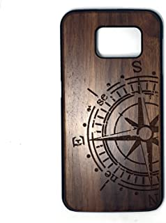 Galaxy S7 Edge Case,Unique Handmade Natural Wood Slim Hard Cover Wooden Protective Case for Samsung Galaxy S7 Edge G9350(5.5 Inch),Use Laser Carving Exquisite Patterns (Walnut compass)