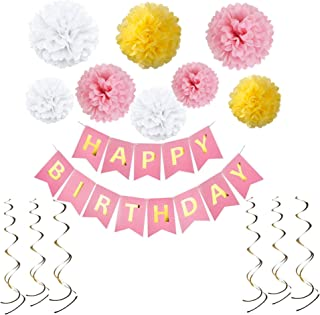 Birthday Decorations With Happy Birthday Banner - Birthday Party Pack Pastel - 8pcs Pom Poms Flowers Kit, 6pcs Hanging Swirls - Birthday Party Supplies