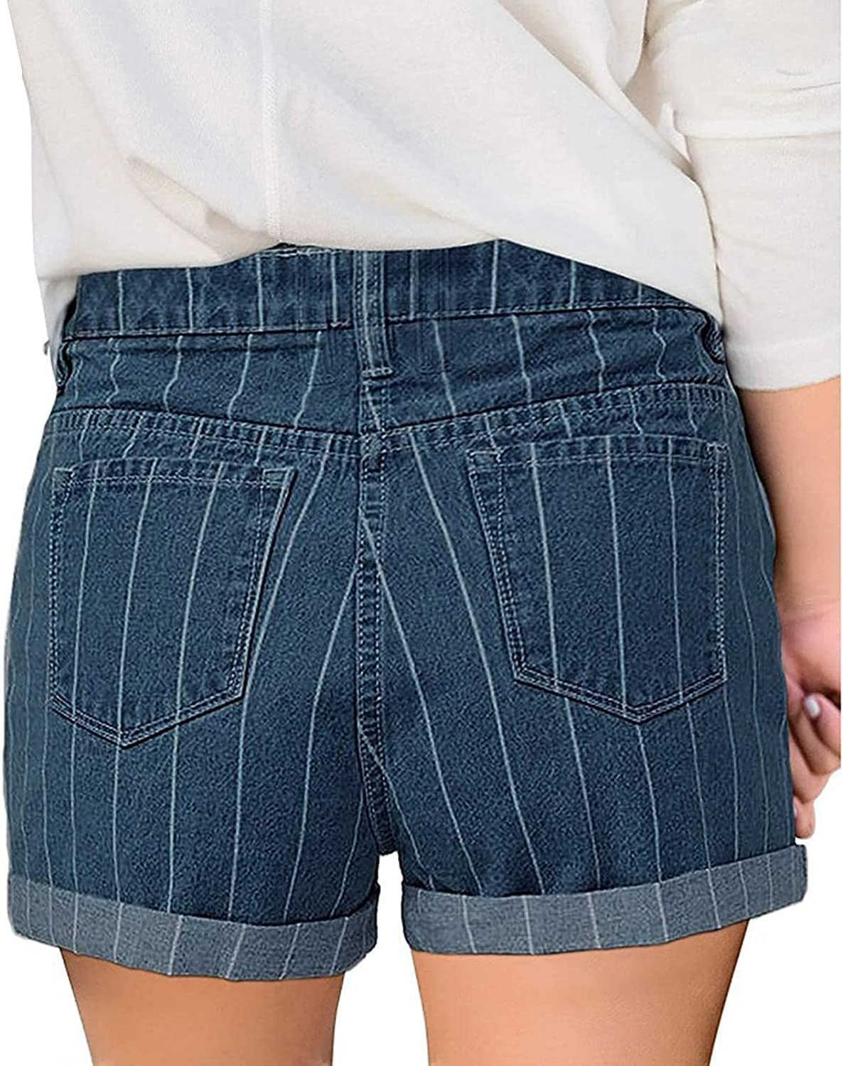 Jean Shorts for Women Plus Size Distressed Ripped Denim Shorts Stretchy Frayed Raw Hem Hot Short Jeans with Pockets