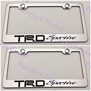 Billion_Store 2X TRD Sportivo Sport Stainless Steel License Plate Frame Rust Free W/Caps The Best Accessories for Auto-Tuning