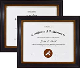 Golden State Art, Set of 2, 8.5x11 Frame for Diplomas/Certificates, Black Gold & Burgundy Color. Real Glass & Table-Top Display