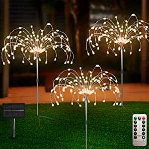 Outdoor Solar Garden Lights 3 Pack, 120 LED Copper Wire Light with Remote, 8 Lighting Modes Decorative Stake Landscape Light DIY Solar Firework Light for Garden Pathway Party Decor (Warm)