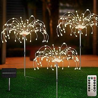 Outdoor Solar Garden Lights 3 Pack, 120 LED Copper Wire Light with Remote, 8 Lighting Modes Decorative Stake Landscape Lig...