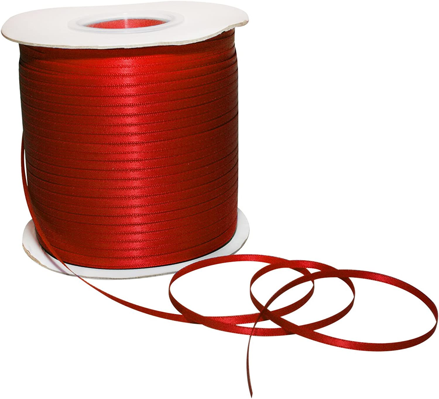 Morex Ribbon 08803 500250 Double Face Satin Polyester Ribbon, 1 8  500 yd., Red