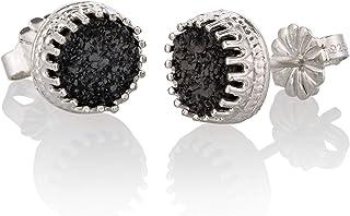Orecchini Druzy in argento sterling Orecchini Druzy neri naturali Dainty Classic misura 6mm