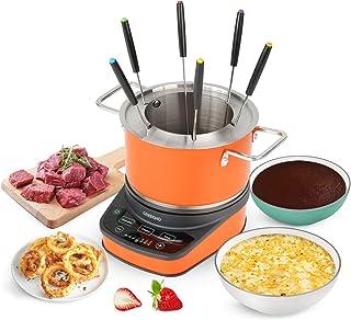 GREECHO Digital Electric Fondue Set — 3.2 Quart Fondue Pot of Stainless Steel Cookware With Temperature Control, 1200W Fon...