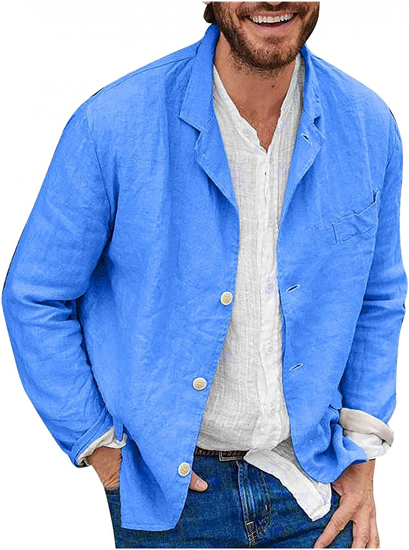 Burband Mens Cotton Linen Jackets Button Down Slim Fit Stretch Sport Coats Big and Tall Long Sleeve Lightweight Blazers