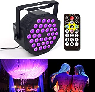 KOOT Black Lights, 72W 36 LEDs UV Stage Lighting Up Wash Disco Strobe Party Supplies by DMX and Remote Control for Karaoke Club Bar Wedding Show