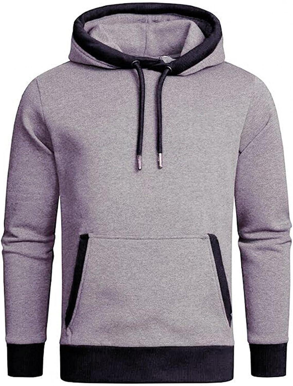 Hoodies for Men Men's Solid Color Pocket Loose Long Sleeve Casual Sports Hooded Top Windproof Fashion Hoodies Sweatshirt