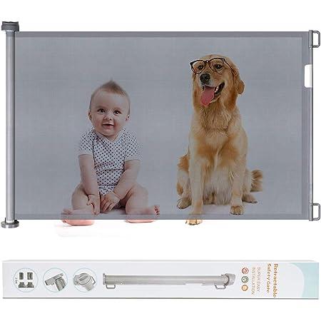 ベビーゲート 階段上 ペットゲート 巻き取り式 子供安全ゲート 育児用品 ベビーフェンス 犬猫侵入防止 隔離ネット 設置幅0-130cm 高さ87cm 寝室/キッチン/階段/玄関/廊下に適用 (グレー)