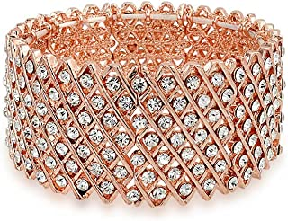 Bling Jewelry Fashion Wide Pink Rose Gold Plated White Crystal Encrusted Statement Stretch Bracelet for Women for Prom