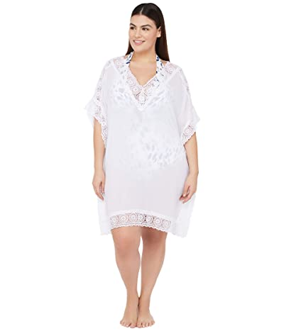 La Blanca Plus Size Island Fare Short Sleeve Tunic Cover-Up (White) Women
