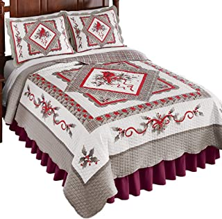 Collections Etc Refreshing Silver and White Cardinal Quilt, Winter Seasonal Accents in Red, Silver, Full/Queen