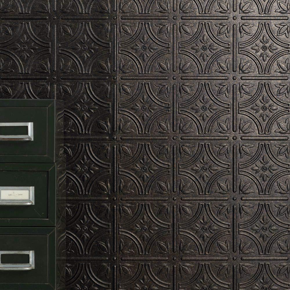 Amazon ウォールパネル 3d 立体壁紙 壁面化粧 タイル調 壁材 エンパイア ダークブロンズ 4枚入り Z3k イノベラ ソティーレシリーズ 壁紙