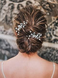 Artio Bride Wedding Pearl Hair Pins Silver Rhinestone Bridal Hair Accessories Hair Piece for Women and Girls 2PCS HP012 (Silver)