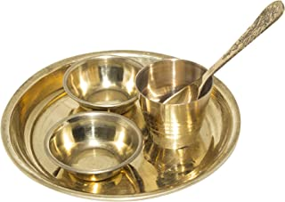 Baal Festive Special Pooja Thali with 2 Katori, Glass, 1 Spoon for Home Use (Golden) Pack of 1