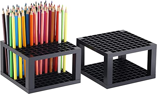 new arrival CAXXA 2 Pack 96 Hole Art Plastic online sale Pencil & Brush Holder Desk Stand Organizer Holder for Pens, Paint Brushes, Colored Pencils, Markers 2021 (2 Pack) online sale