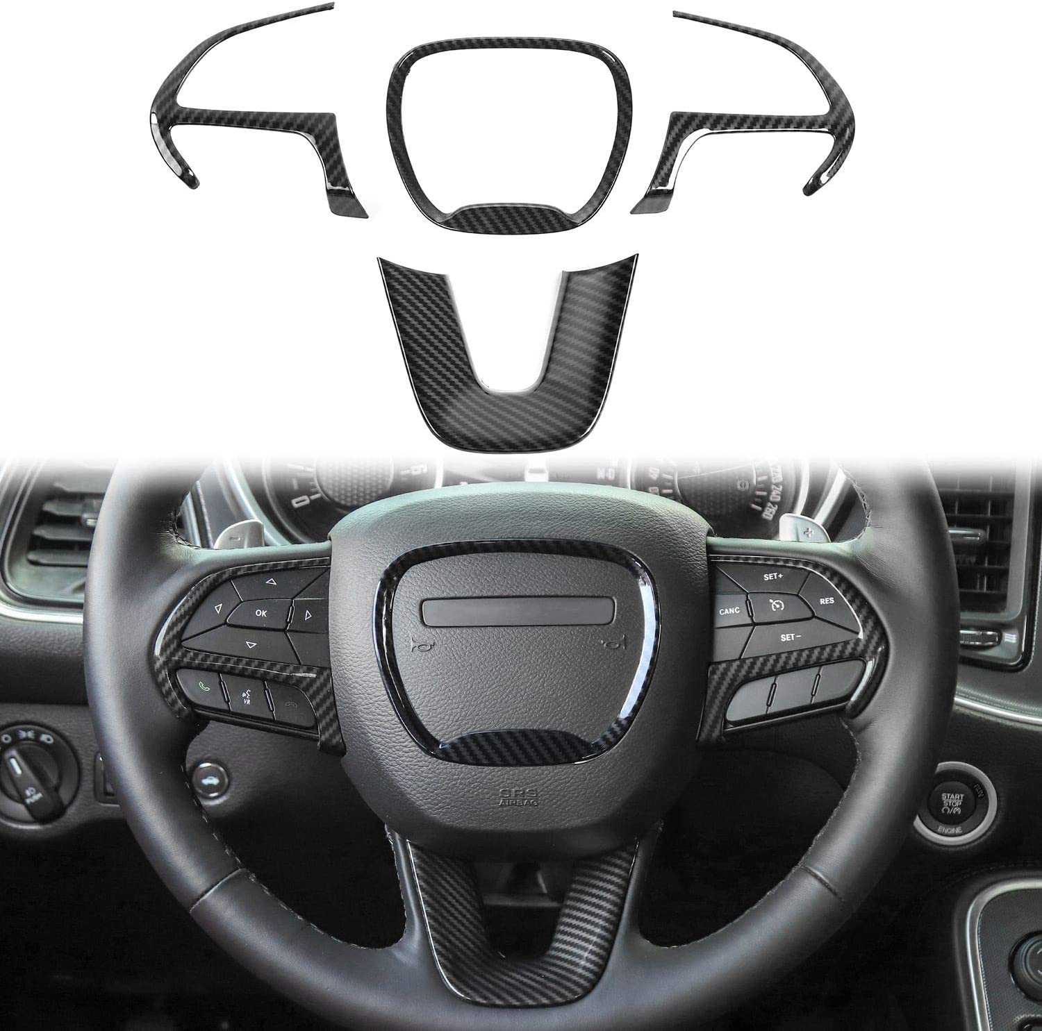 Bonbo for Challenger Steering Wheel Decoration Cover Trim Interior Accessories for 2014 up Durango 2014 up Jeep Grand Cherokee SRT8,2015-2020 Dodge Challenger/&Charger Purple