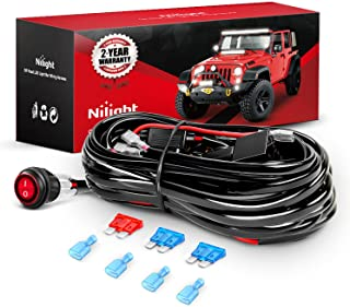 Nilight LED Light Bar Wiring Harness Kit 12V On Off Switch Power Relay Blade Fuse for Off Road Lights LED Work Light,2 yea...