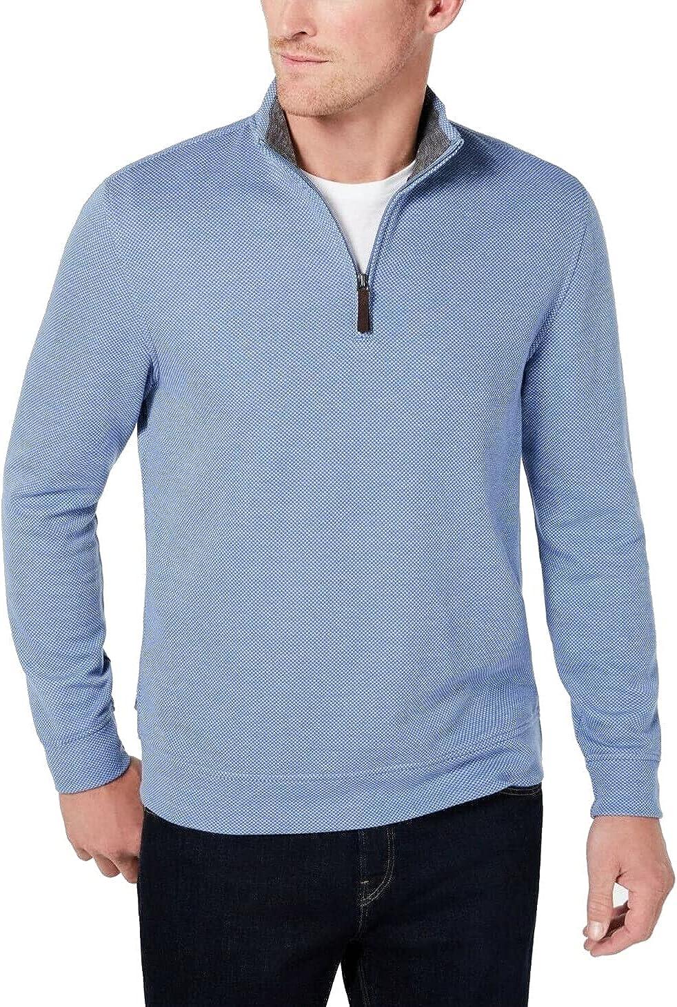 Tasso Elba Mens Sweater Small Chambray Quarter-Zip Pullover Blue S