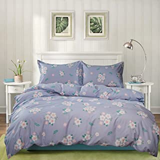 3 Piece Duvet Cover Set, Cotton Bedding, Floral Pattern Violet Purple Luxury Breathable, Soft, Comfortable and Easy Care, King Size