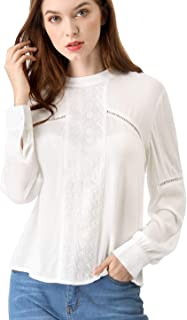 Allegra K Women's Embroidery Floral Peasant Blouse Crew Neck Boho Shirts Tops
