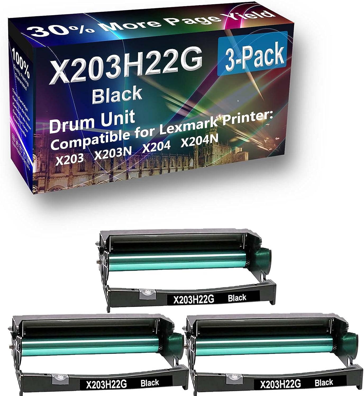 3-Pack Compatible E250X22G Drum Kit use for Lexmark X203 X203N X204 X204N Printer (Black)