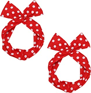 Folora 2pcs Twist Bowknot Wired Chiffon Headbands Stylish Retro Polka Dot Hair Bands for Women and Girls Halloween