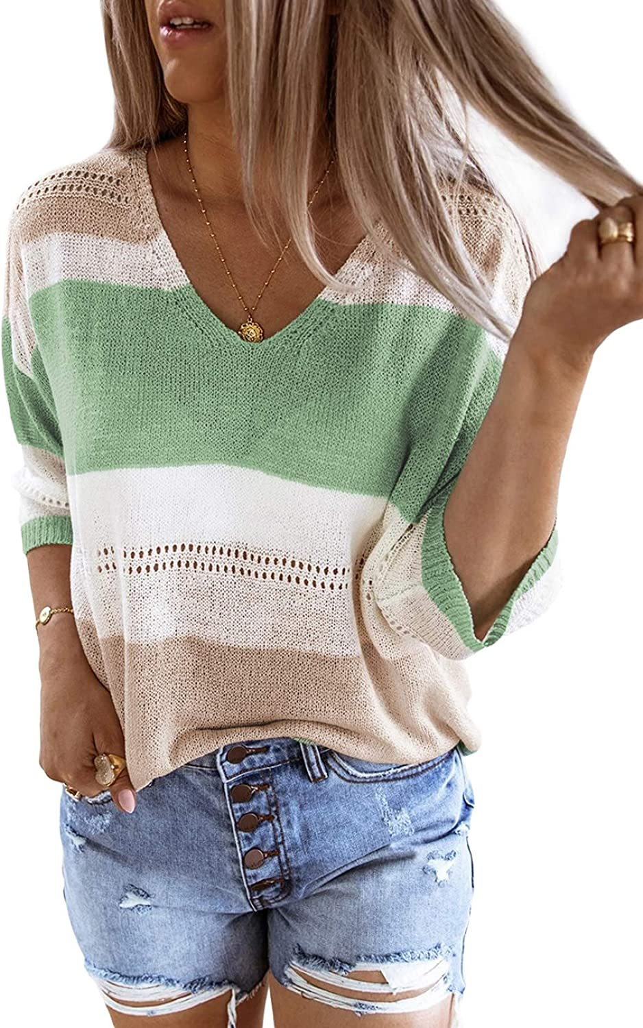 Zecilbo Women's Striped Color Block 3/4 Sleeve Sweaters Casual Loose Fit Knit Tops