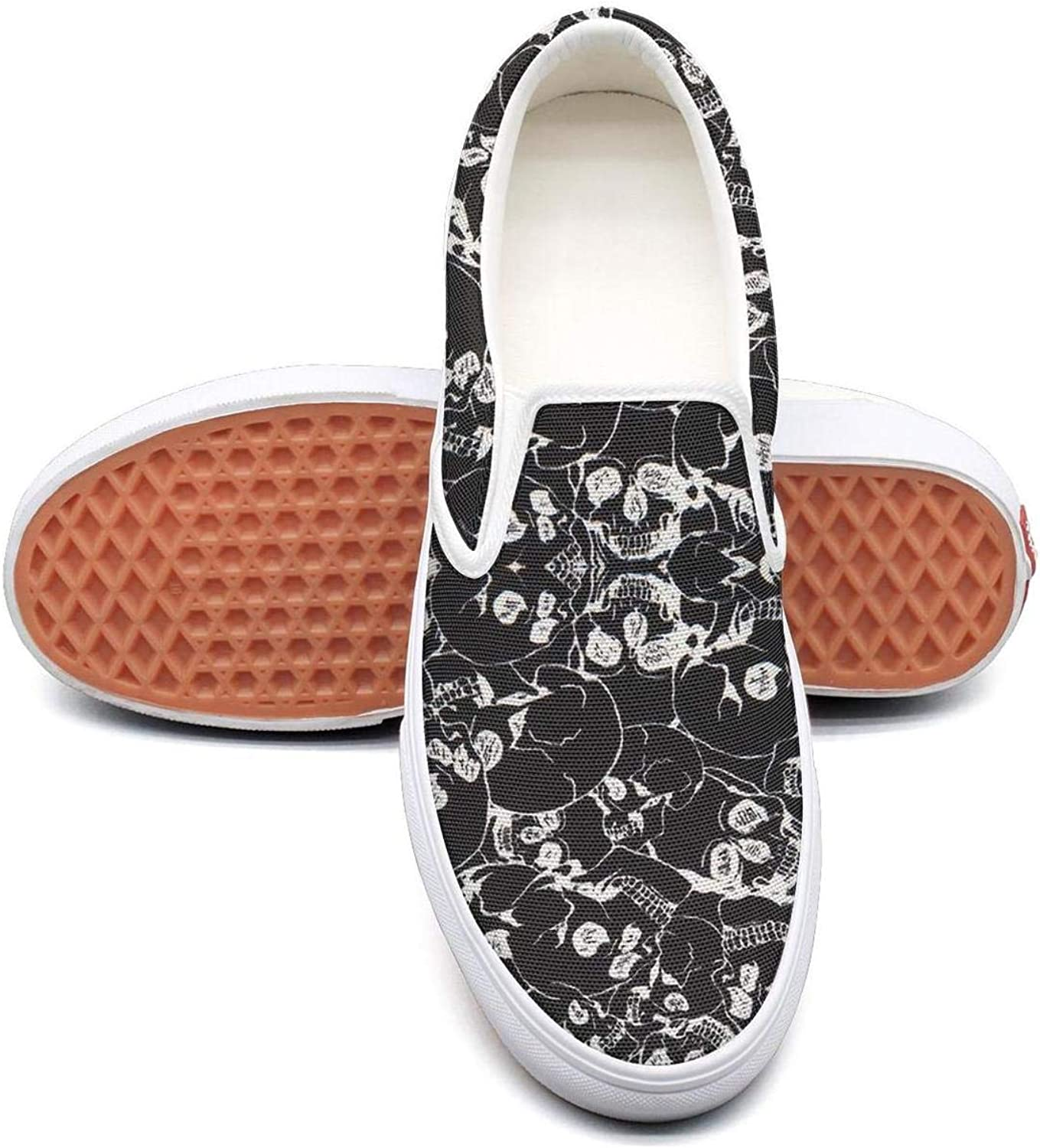 Halloween Inspiration with Skull Prints Slip On Canvas Upper Sneakers Canvas shoes for Women Casual