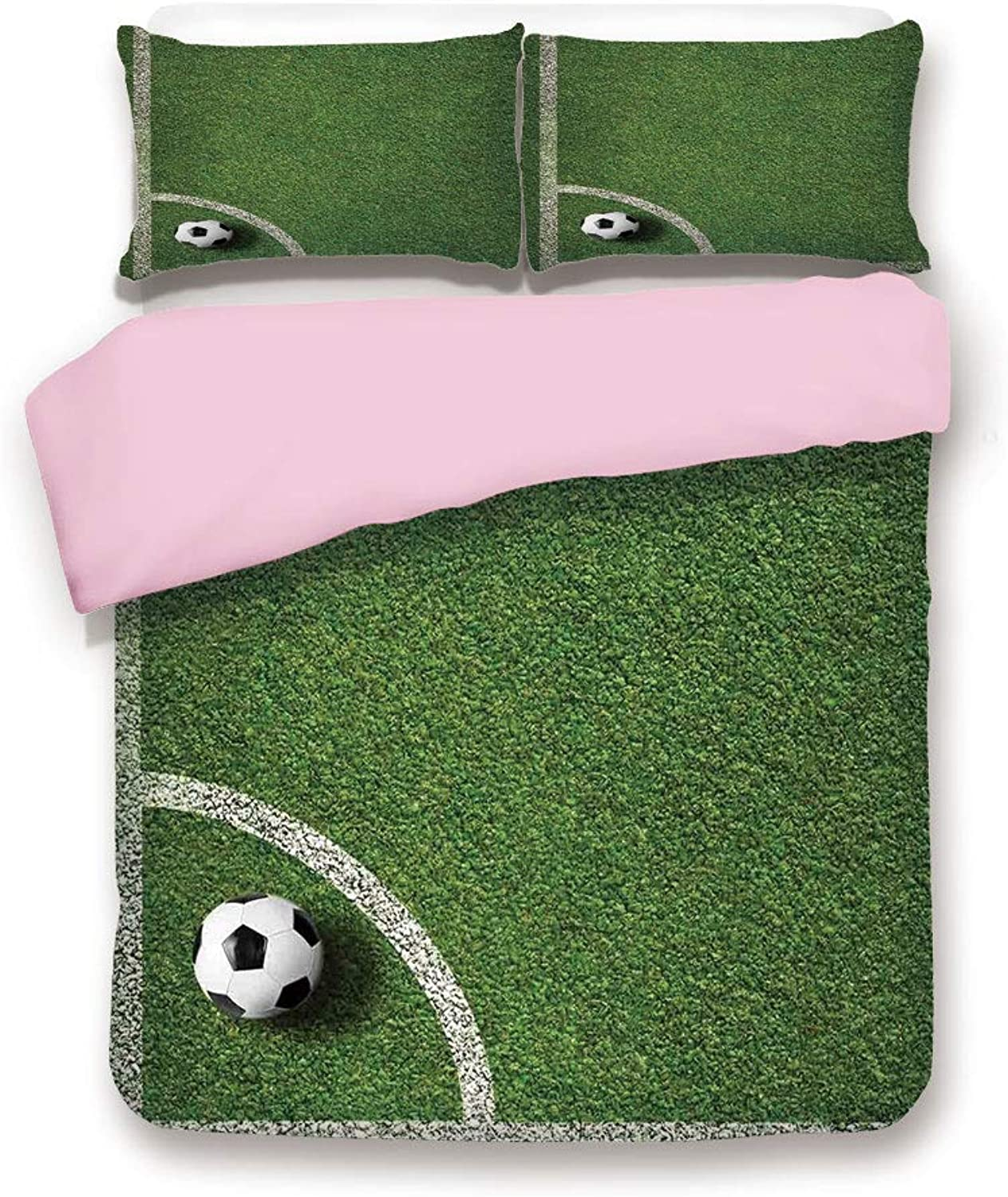 Pink Duvet Cover Set,Full Size,Soccer Ball in Corner Kick Position Football Field top View Grass Lawn Terrain,Decorative 3 Piece Bedding Set with 2 Pillow Sham,Best Gift for Girls Women,