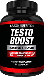 TestoBoost Test Booster Supplement - Potent & Natural Herbal Pills - Boost Muscle Growth - Tribulus, Horny Goat Weed, Hawt...