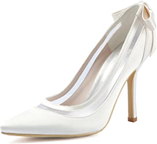 ec93ac5e56 ElegantPark Women High Heel Pumps Pointed Toe Bowknots Satin Bridal Wedding  Shoes