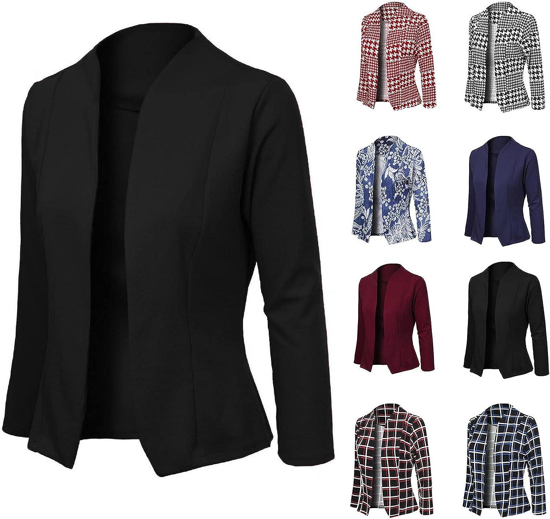 Women Business Attire Printed Long Sleeve Slimming Cardigan Suit Coat Top Raincoat