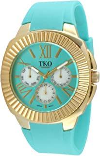 TKO Women's Gold-Tone Multi-Function Watch/w Soft Silicone Rubber Adjustable Strap Band