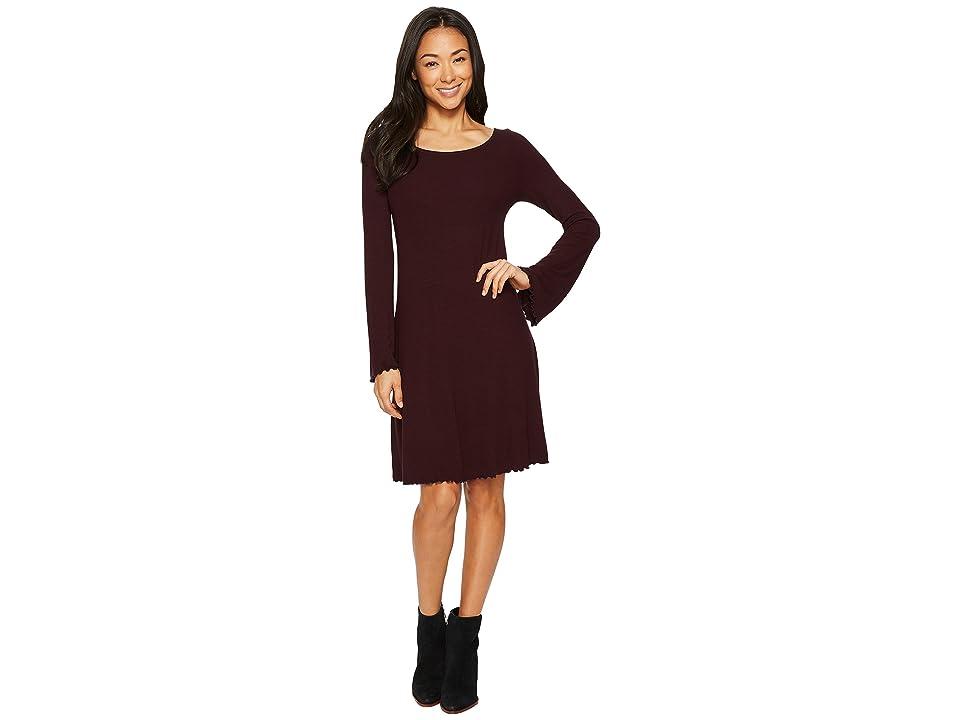 Three Dots Viscose Rib Easy Dress (Aubergine) Women