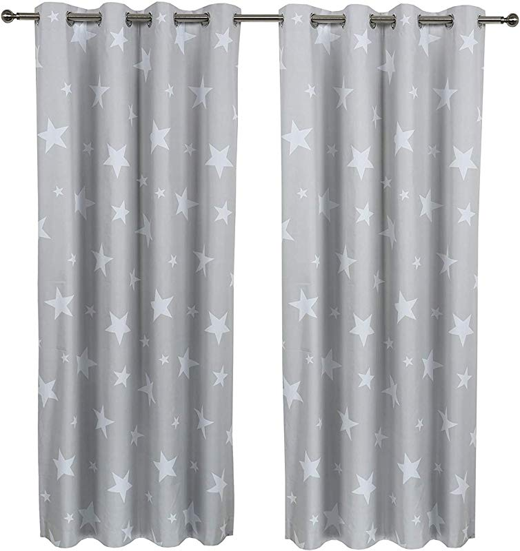 Sherwood Star Coated Blockout Eyelet Window Curtain Drape For Kids Children Bed Room 1 Panel 47 X84