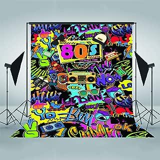 Mehofoto Hip Pop 80's Themed Backdrop 80s Graffiti Photography Background 5x7ft Vinyl 80th Themed Party Decoration Personalized Portrait Backdrops
