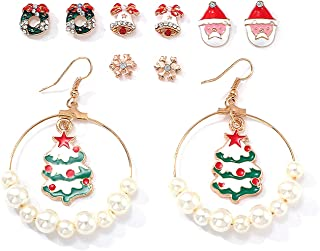 Christmas Earrings Holiday Jewelry Set 5 pairs gifts for Women Girls,Thanksgiving Xmas Jewelry Christmas Snowman Snowflake Abduct Deer Pearl Gift box Sock Santa Claus Christmas Tree Bell