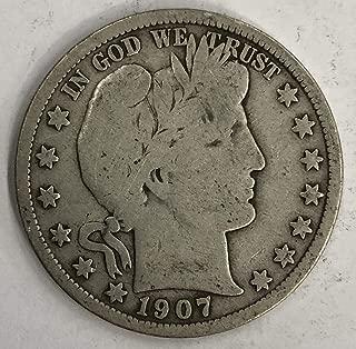 1907 S Silver Barber Half Dollar 50c Fine