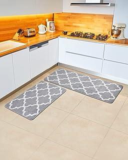 "Jersow Kitchen Rug Mats 100% Polypropylene 2 Pieces Soft Kitchen Mat Anti Slippery and Machine Washable (17""X24""+17""X48"", ..."