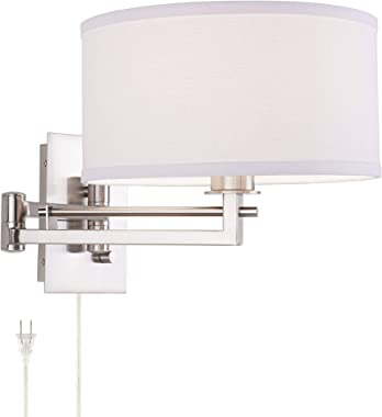 Aluno Modern Swing Arm Wall Lamp with Cord Brushed Nickel Plug-in Light Fixture Dimmable White Linen Drum Shade for Bedroom B