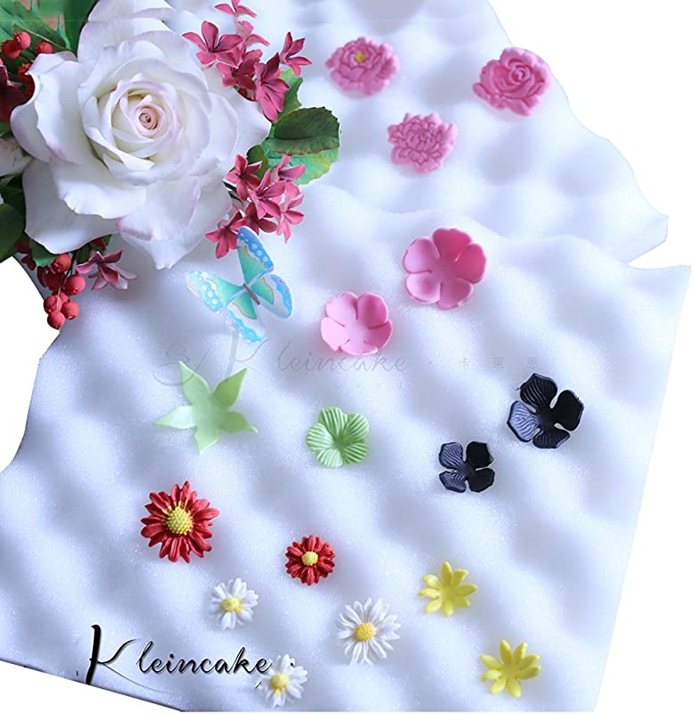 2Pcs Sugarcraft Fondant Foam Pad Dry Flower Sponge Mats Gum Paste Shaping Mold Decorating Bakeware Tool