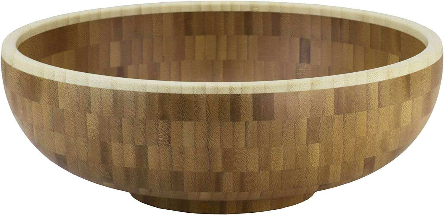Totally Bamboo Classic Large Bamboo Serving Bowl, 12  x 12  x 4-1 2