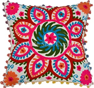 Trade Star Exports Pom Pom Pillow Cover, Suzani Pillows 16x16, Outdoor Cushions Cover, Bohemian Pillow Cases Decorative