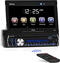 BOSS Audio Systems BV9986BI - in-Dash, Single DIN, Bluetooth, DVD CD MP3 USB SD AM FM Receiver, Motorized 7 Inch Touchscreen, Detachable Front Panel