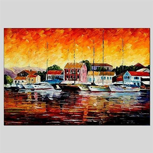 a la venta Pintado A A A Mano Paisaje Pintura Al óleo Sala De Estar Dormitorio Hotel Pintura De Noche 60  90 Cm  venta al por mayor barato